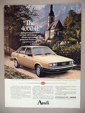 Audi 4000 4E Car PRINT AD - 1981