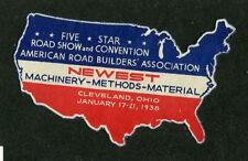 Vintage Poster Stamp Label 1938 5 STAR AMERICAN ROAD BUILDERS Cleveland USA map