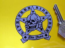 """Vivre libre, ride free, die libre, Crâne Autocollant Voiture Vélo 2,5 """"casque biker rocker"""