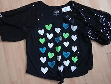 NWT GIRLS JUSTICE SZ 16 BLACK SHIRT SEQUINS