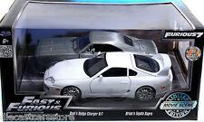 JADA FAST & FURIOUS BRIAN'S TOYOTA SUPRA WHITE & DOM'S DODGE CHARGER RAW 1/24