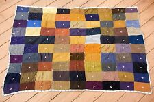 "100yr old Handmade Wool Suit Coat Pieced Patchwork Hand Tied Quilt 62""x42"" Heavy"