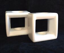 Square Candle Holders Partylite White Candlesticks Set of Two Retro Mod