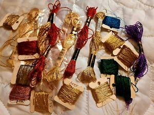 Lot of 19 DMC Metallic Floss Skeins and On Bobbins Red Gold Green Silver Purple