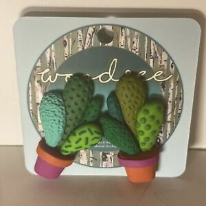 Woodsee Cacti Cactus Polymer Clay Handmade Studs Earrings Pot Pink Orange Green
