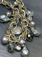 Signed Ann Taylor Long Sweater Necklace  Crystal  Beaded Silver Gold. Tone 34""