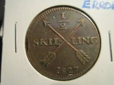 New listing 1827 Sweden 1/2 Skilling In Vf Condition