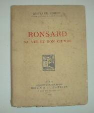 MOYEN AGE RONSARD SA VIE SON OEUVRE GUSTAVE COHEN ENVOI DEDICACE A WIDAL 1924