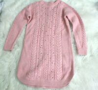 Gap Kids size L pink tunic sweater boatneck knitted long sleeve pullover cotton