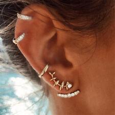 4PCS/Set Womens Girl Ear Stud Earrings Gold Crystal Punk Small Hoop Band Jewelry