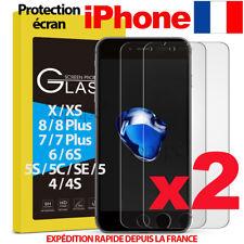 LOT VITRE PROTECTION VERRE TREMPÉ FILM ÉCRAN IPHONE 6 7 8 5S SE PLUS X XS MAX