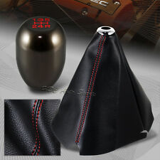 Red Stitch Leather Manual Shift Boot + Gunmetal 5-Speed Shifter Knob Universal 1