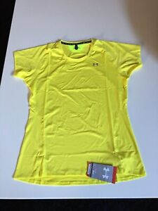 UNDER ARMOUR WOMENS HEATGEAR YELLOW  T- SHIRT BRAND NEW WITH TAGS SIZE  MEDIUM