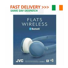 JVC Flats Wireless BLUETOOTH HEADPHONES W/ REMOTE & MIC- BLUE