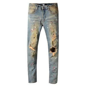 Amiri's Slim Pants Ripped Yellow Lacquer High Street Jeans