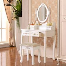 Vanity White Makeup Dressing Table Desk With 4 Drawers,Stool ,Oval Mirror Sets