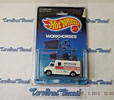 "1989 Hot Wheels #71 Workhorses (white) American ""AMBULANCE"" in protector ~ 17"