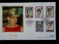 GT BRITAIN 1998 PRINCESS DIANA 5v MERCURY SILK FIRST DAY COVER KENSINGTON W8 SHS