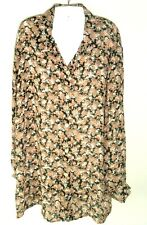 Vtg Top 90s Women's Boho Long Floral Blouse Via Max L oversize made in USA