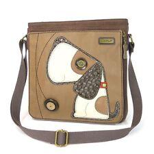 Chala Handbag Deluxe Messenger Bag with Detachable Tablet Sleeve (Toffy Dog)