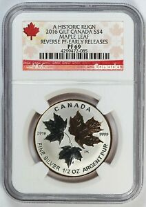 2016 NGC PF 69 Canada / Canadian Silver Maple Leaf 1/2 oz Silver - Reverse Proof
