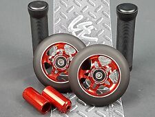 2 x Red Pro Star Black Metal Core Scooter Wheels + 2 Grips + 2 Pegs + Grip Tape