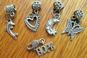Silver Tone Metal Bracelet Charms