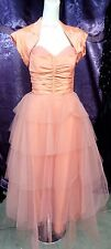 50s Coral Taffeta and Tulle Strapless Prom Bridesmaid Dress w/ Jkt sz S