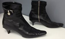 PRADA Black Leather Ankle Strap Silver Tone Logo Dangle Accent Ankle Boots Sz 40