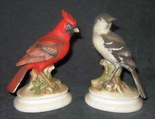 6 Lefton China Bisque Bird Figurines Cardinal Mockingbird Gold Finch Robin etc.