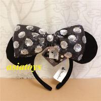 Authentic Shanghai Disney parks minnie mouse ear headband removable bow starter