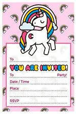 1 x UNICORN GIRLS CHILDRENS BLANK DIY BIRTHDAY PARTY INVITATIONS + FREE MAGNETS