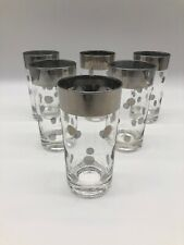 "Vintage Dorothy Thorpe Style Silver Band Polka Dot 5 5/8""Tumblers Glasses  set 6"
