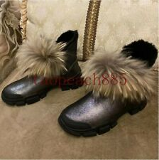 Women Fur Thick Sole Snow Boots Round Toe Waterproof Leather Slip on Ankle Boots