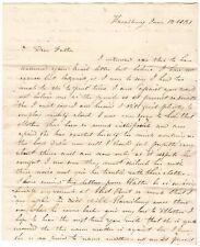 Civil War Gen. Franklin Family SFL Letters Harrisburg Pennsylvania 1831-32