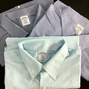LOT of 3 Brooks Brothers Button Dress Shirts Regent 18 - 34/35 Plaid Cotton