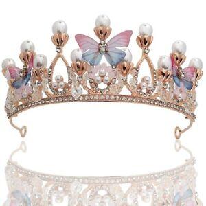 Princess Crystal Tiara Crown Pink Rhinestone Pearl  Butterfly Tiaras for Girls