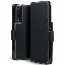 Huawei P30 Case Slim Fit Synthetic Leather Wallet Flip Cover Black