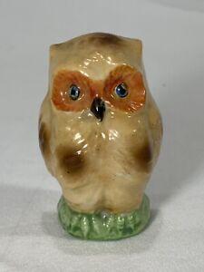 Vintage Owl Bird Cage Water Feeder Google Eyes Porcelain Luster Ware MIJ Japan