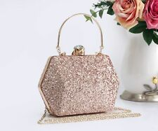 Women's Glitter Hexagon Hardcase Diamanti Evening Clutch Purse Pouch Bag Handbag