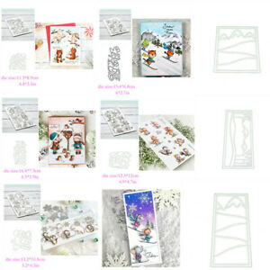 Hill Skiing Polar Animals Clear Stamps Coordinate Cutting Dies DIY Card Crafts