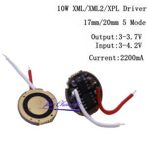 10w XML T6 led driver 17mm 20mm 3.6V 5-Mode LED driver For Cree XML LED Emitter