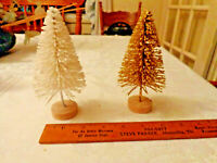 "Bottle brush Christmas tree Gold White for villages decor 5 1/2 "" inches Retro"