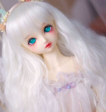 "8-9-10"" 1/3 BJD Long Soft Snow White Curly Wavy Wig LUTS Doll DOD MSD Soom Hair"