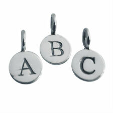 SOLID sterling SILVER 925 personalised ALPHABET round charm (ALL letters)