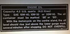 KAWASAKI  Z1B 900 Z900 KZ900 OIL CAUTION WARNING DECAL FOR REAR TAIL SECTION
