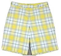Nike Golf Men's Dri-Fit Tour Performance Yellow Plaid Shorts Size 36