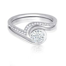 Bridal Engagement or Right Hand Ring Yin Yang Simulated Diamond Sterling Silver