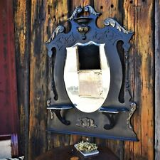 Antique 19th Cent Ebonised Gilt Shield Over Mantle Bevelled Mirror With Shelves