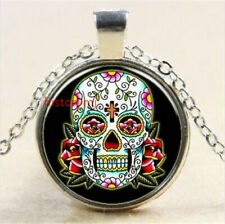 NEW Vintage skull Cabochon Tibetan silver Glass Chain Pendant Necklace jewelry !